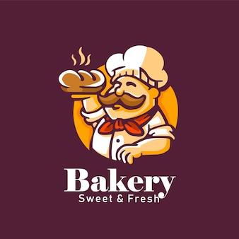 Logotipo vintage feito à mão de padaria doce e fresco