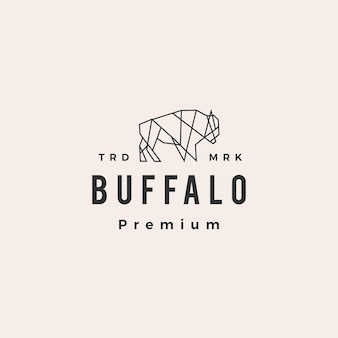 Logotipo vintage geométrico do buffalo bison hipster