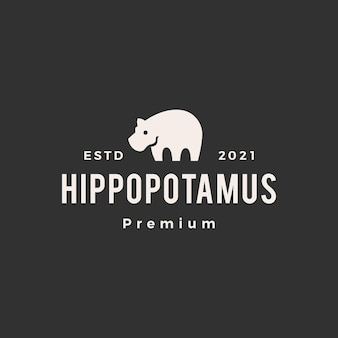 Logotipo vintage hipopótamo moderno