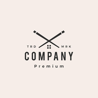 Logotipo vintage hipster de chopstick house Vetor Premium