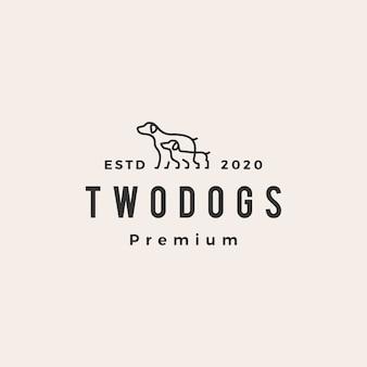 Logotipo vintage hipster de dois cães