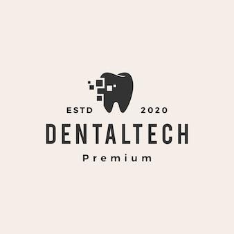 Logotipo vintage hipster de tecnologia odontológica