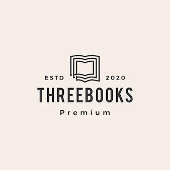 Logotipo vintage hipster de três livros
