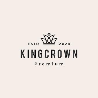 Logotipo vintage king crown hipster