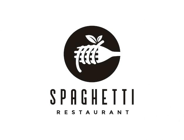 Logotipo vintage macarrão espaguete
