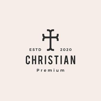 Logotipo vintage moderno da cruz cristã