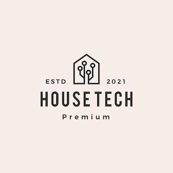 Logotipo vintage moderno de tecnologia para casa