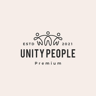 Logotipo vintage moderno do unity people