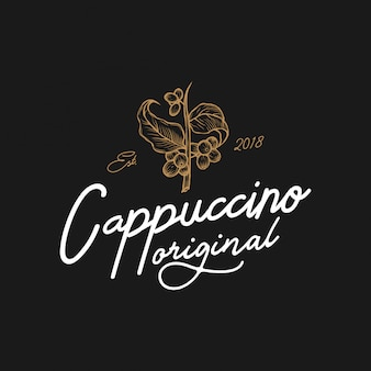 Logotipo vintage original do cappuccino