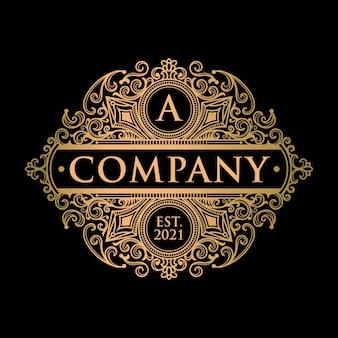 Logotipo vintage ouro exclusivo e modelo de etiqueta
