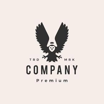 Logotipo vintage owl king hipster
