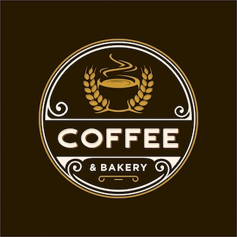 Logotipo vintage para café e padaria