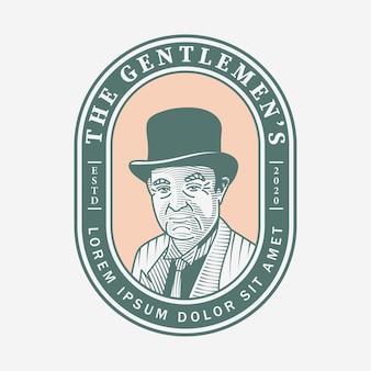 Logotipo vintage para cavalheiros desenhado à mão