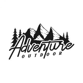 Logotipo vintage para exterior com elementos de montanha
