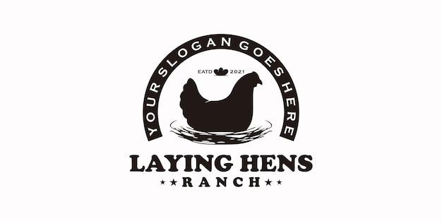 Logotipo vintage para galinhas poedeiras, referência do logotipo do rancho