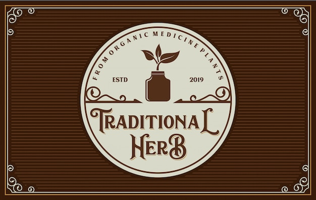 Logotipo vintage para medicamentos tradicionais
