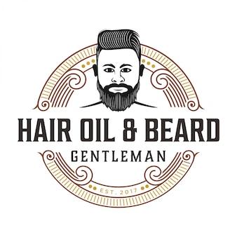 Logotipo vintage para óleo de cabelo e barba