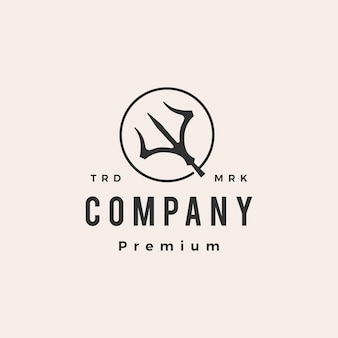 Logotipo vintage redondo da trident