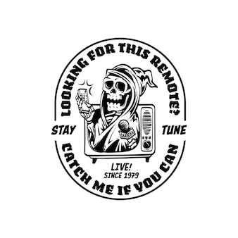 Logotipo vintage retrô com grim reaper segurando ilustração do controle remoto da tv