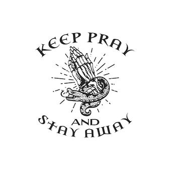 Logotipo vintage retrô com mão de esqueleto orando e ilustração de cobra