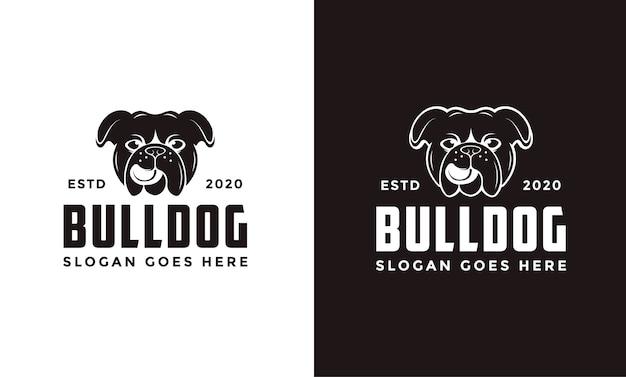Logotipo vintage retrô de bulldog