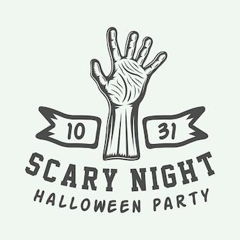 Logotipo vintage retrô de halloween