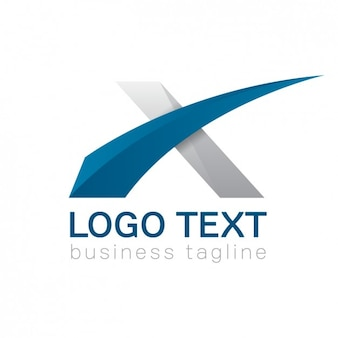 Logotipo x letra, cores azuis e cinzentas