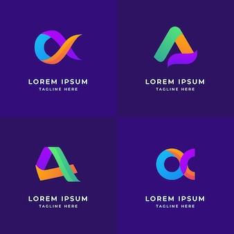 Logotipos alfa coloridos de design plano