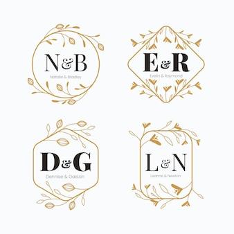Logotipos caligráficos de monograma de casamento dourado