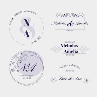 Logotipos caligráficos de monograma de casamento
