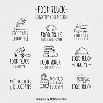 Logotipos caminhão alimentos desenhados mão