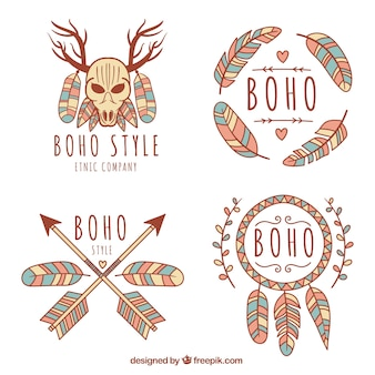 Logotipos coloridos em estilo boho