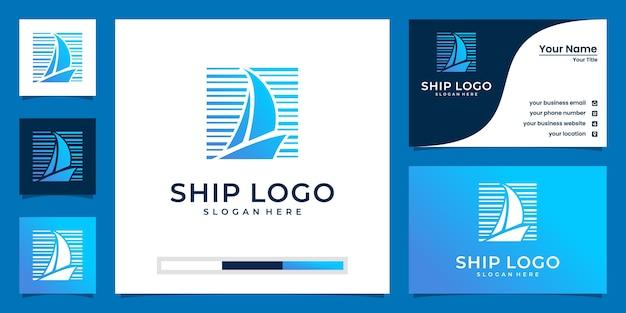 Logotipos criativos de barcos em tons de azul e design de cartão de visita