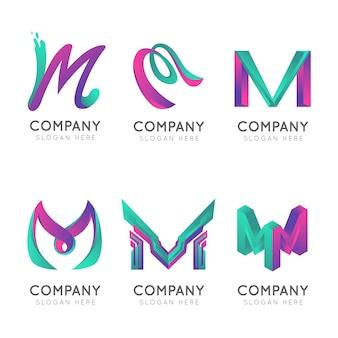 Logotipos da letra m maiúscula da empresa de gradiente