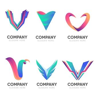 Logotipos da letra v maiúscula da empresa de gradiente