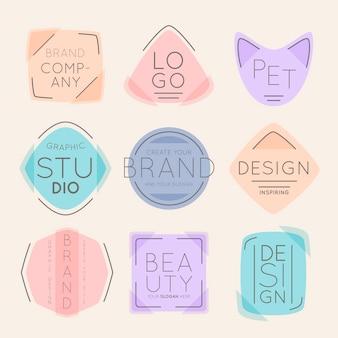 Logotipos da marca em tons pastel