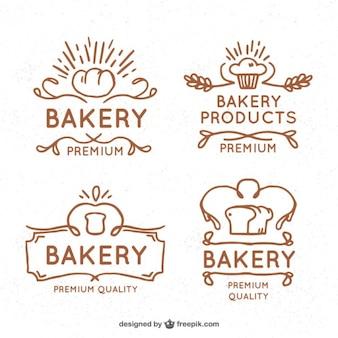 Logotipos da padaria do vintage desenhados mão