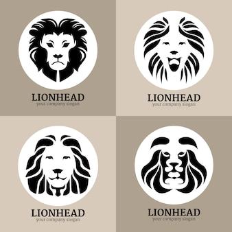 Logotipos de 4 leões, estilo circular