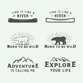 Logotipos de acampamento ao ar livre e aventura