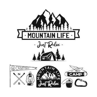 Logotipos de acampamento vintage, conjunto de emblemas de montanha.