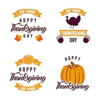 Logotipos de ação de graças feliz
