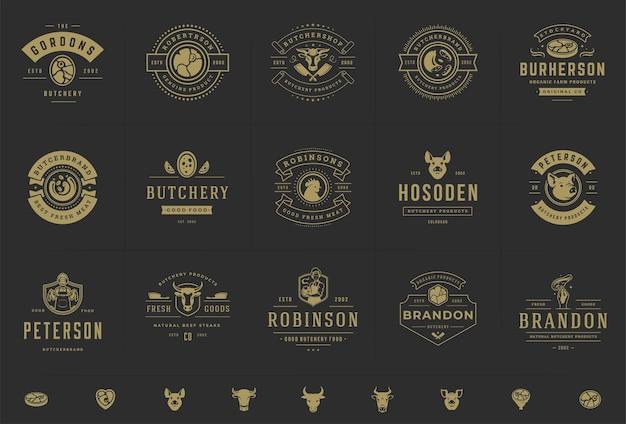 Logotipos de açougue adequados para emblemas de fazenda ou restaurante com animais e carne