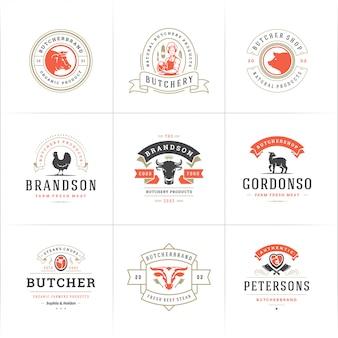 Logotipos de açougue definir ilustração vetorial boa para fazenda ou restaurante emblemas com animais e carne