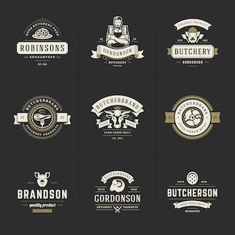 Logotipos de açougue definir ilustração vetorial bom para emblemas de fazenda ou restaurante com animais e silhuetas de carne. design de emblemas de tipografia retrô.