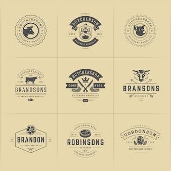 Logotipos de açougues adequados para emblemas de fazendas ou restaurantes com animais e silhuetas de carne