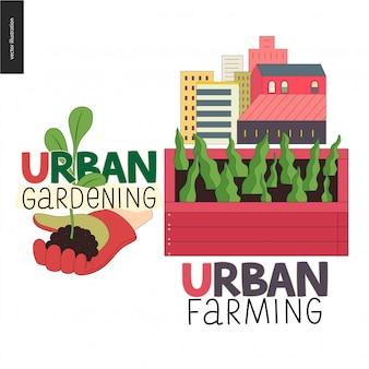Logotipos de agricultura urbana e jardinagem