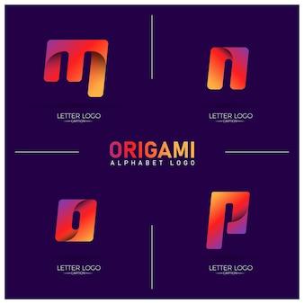 Logotipos de alfabeto mnop de origami curvilíneo e gradiente colorido