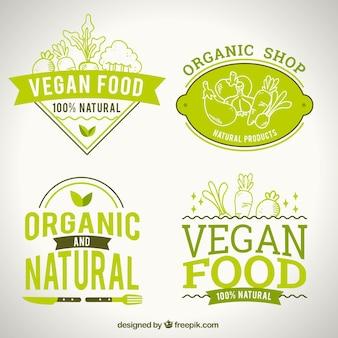 Logotipos de alimentos naturais para restaurante vegan