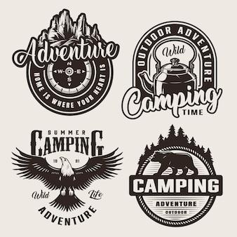 Logotipos de aventura de acampamento monocromático
