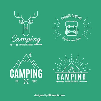 Logotipos de aventura no estilo linear